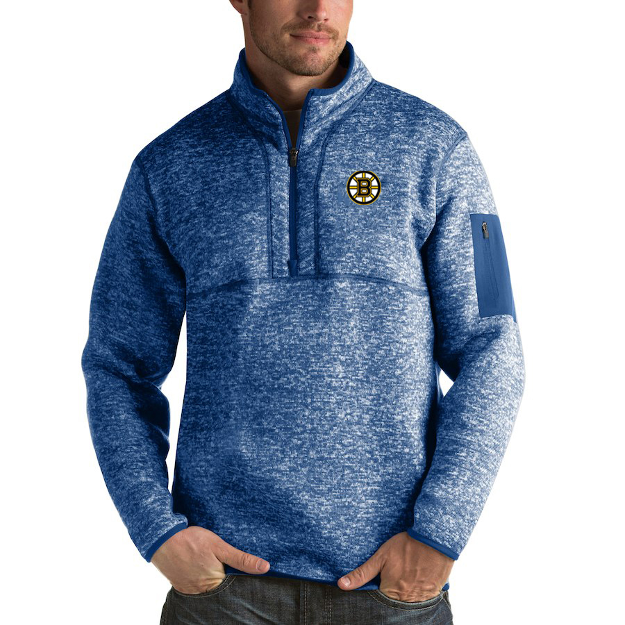 Boston Bruins Antigua Fortune Quarter-Zip Pullover Jacket Blue