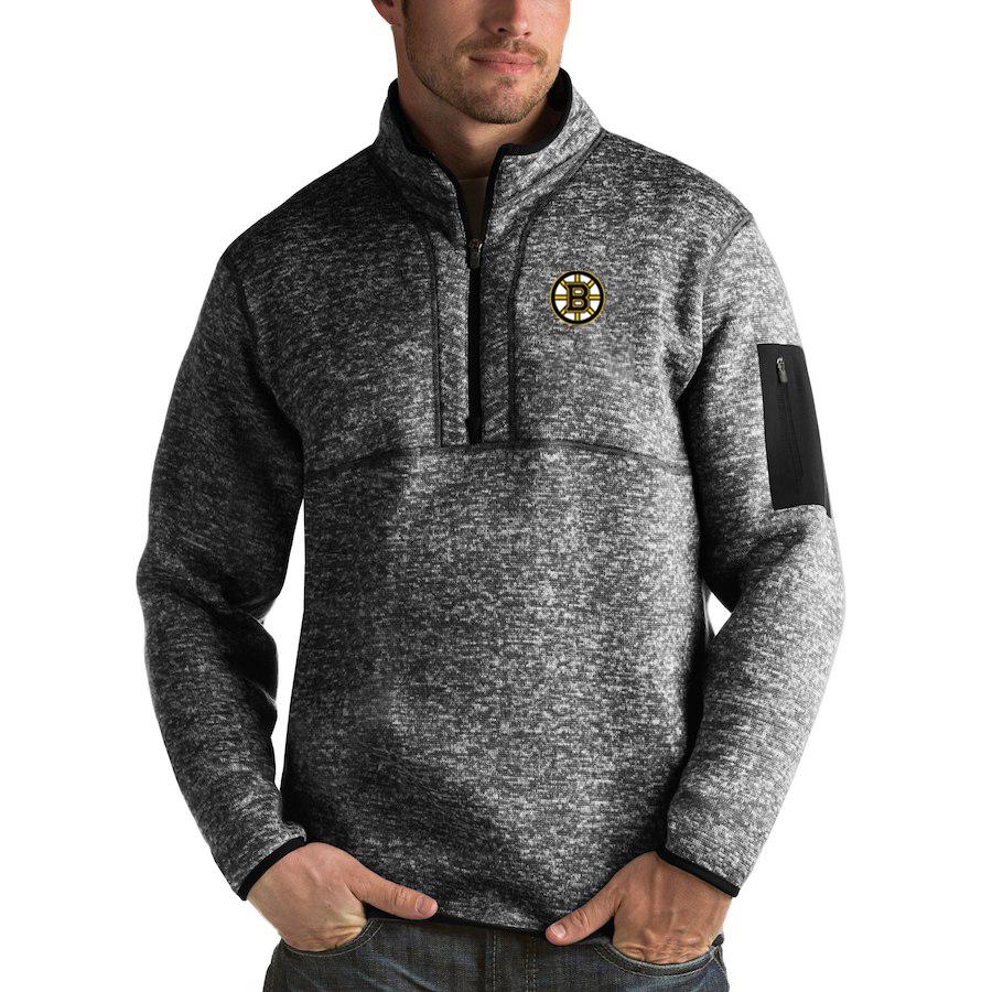 Boston Bruins Antigua Fortune Quarter-Zip Pullover Jacket Charcoal