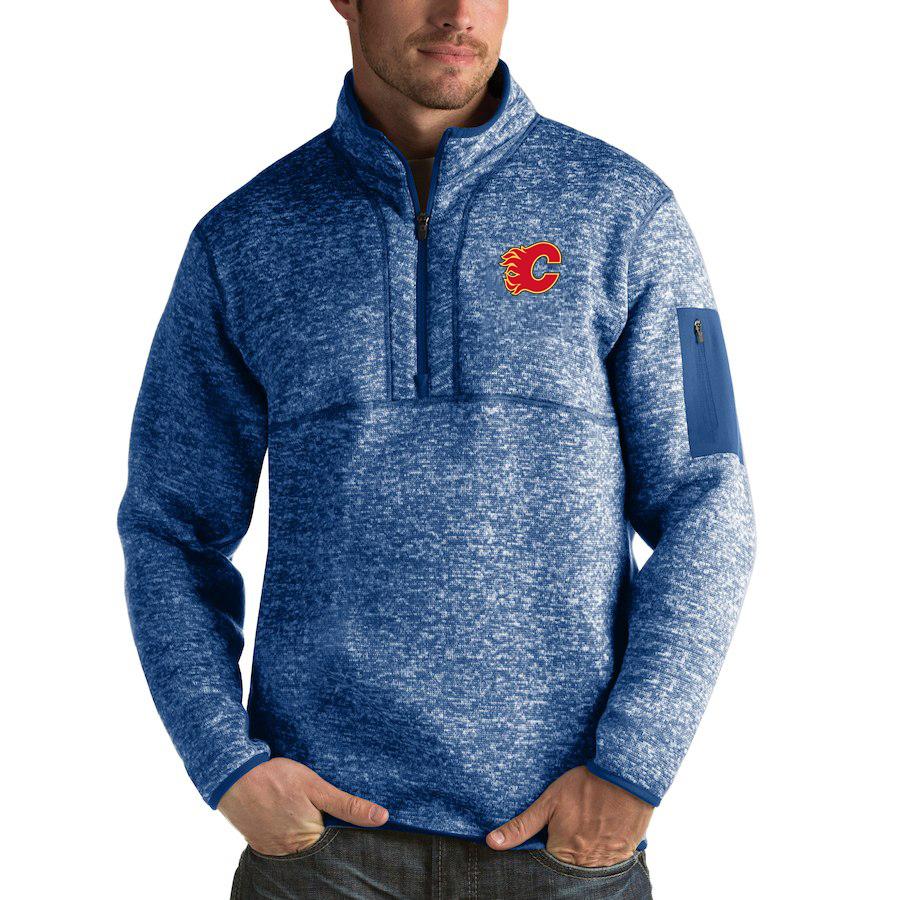 Calgary Flames Antigua Fortune Quarter-Zip Pullover Jacket Blue