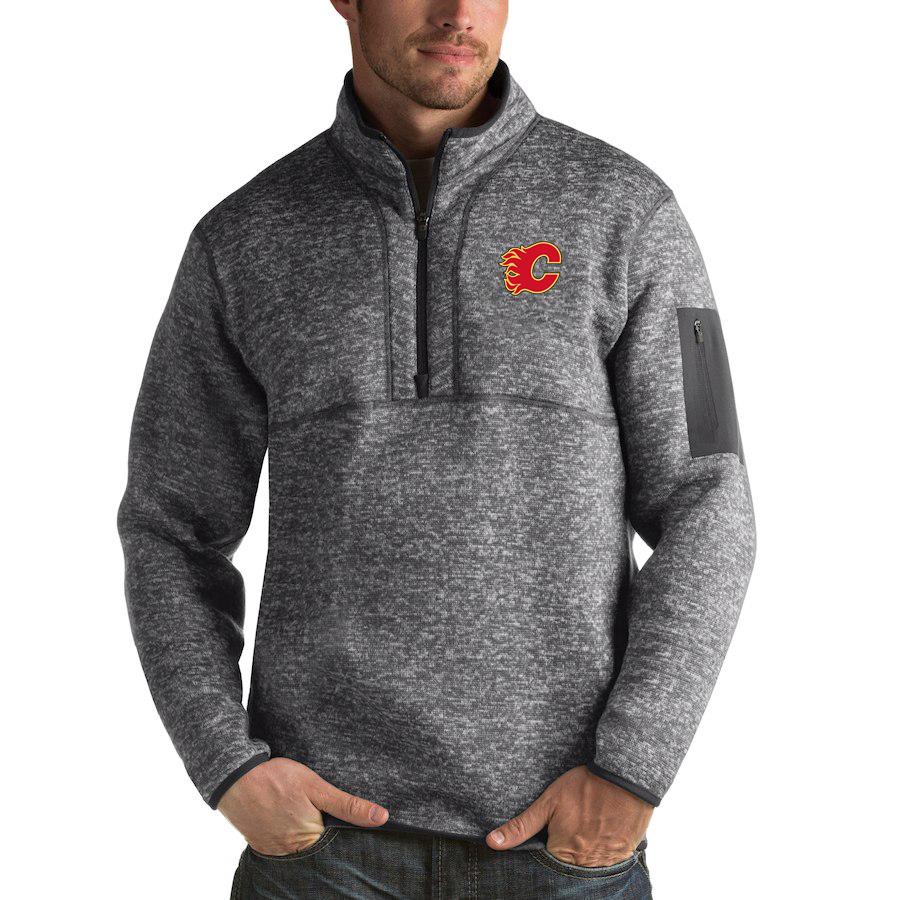 Calgary Flames Antigua Fortune Quarter-Zip Pullover Jacket Black