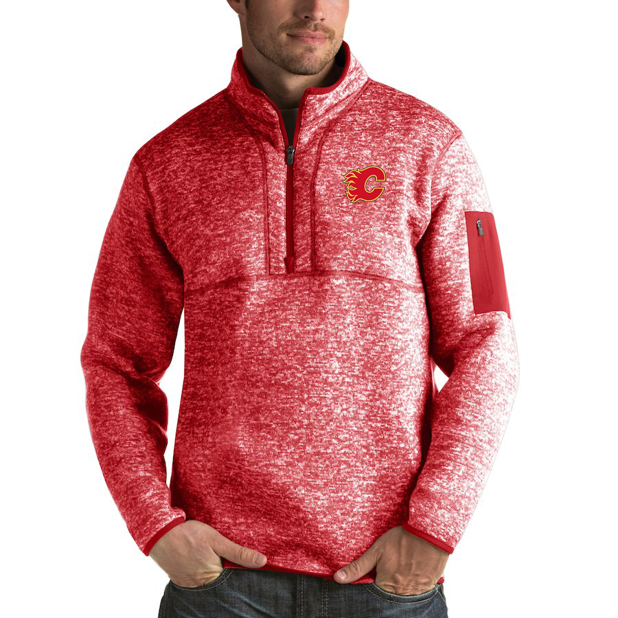 Calgary Flames Antigua Fortune Quarter-Zip Pullover Jacket Red