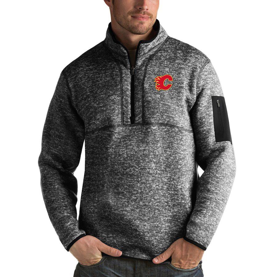 Calgary Flames Antigua Fortune Quarter-Zip Pullover Jacket Charcoal