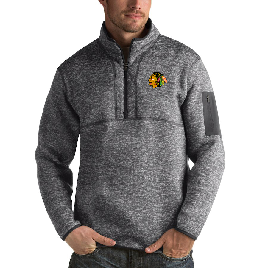 Chicago Blackhawks Antigua Fortune Quarter-Zip Pullover Jacket Black