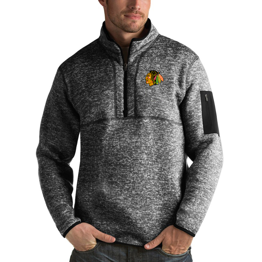 Chicago Blackhawks Antigua Fortune Quarter-Zip Pullover Jacket Charcoal