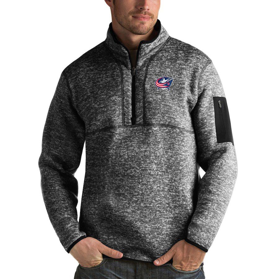 Columbus Blue Jackets Antigua Fortune Quarter-Zip Pullover Jacket Charcoal