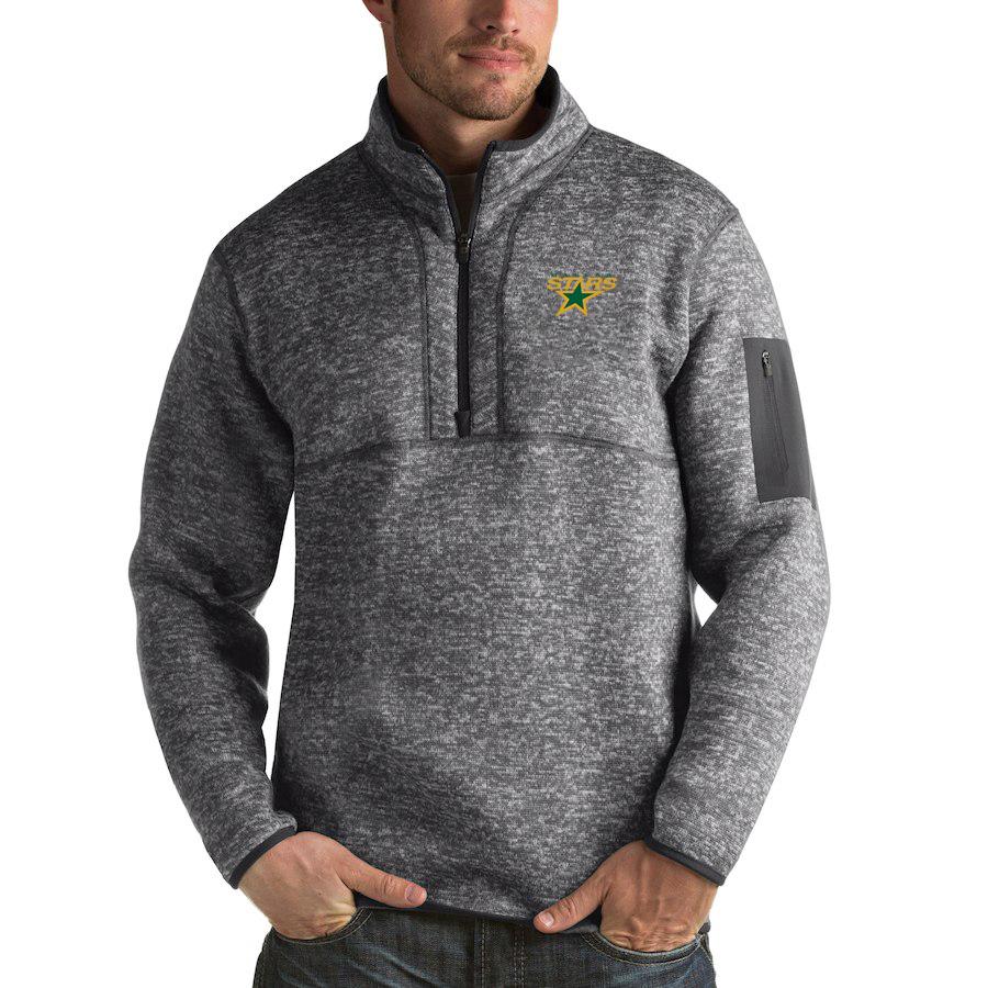 Dallas Stars Antigua Fortune Quarter-Zip Pullover Jacket Black