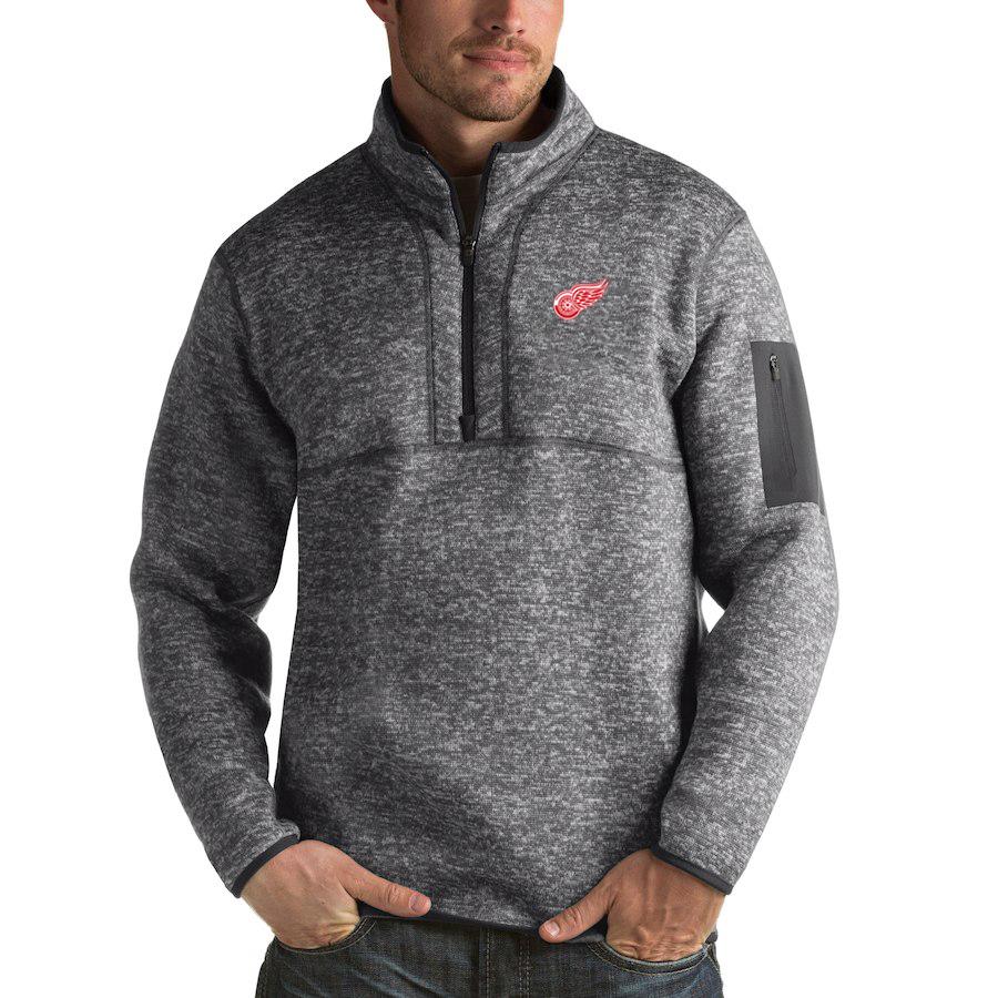 Detroit Red Wings Antigua Fortune Quarter-Zip Pullover Jacket Black