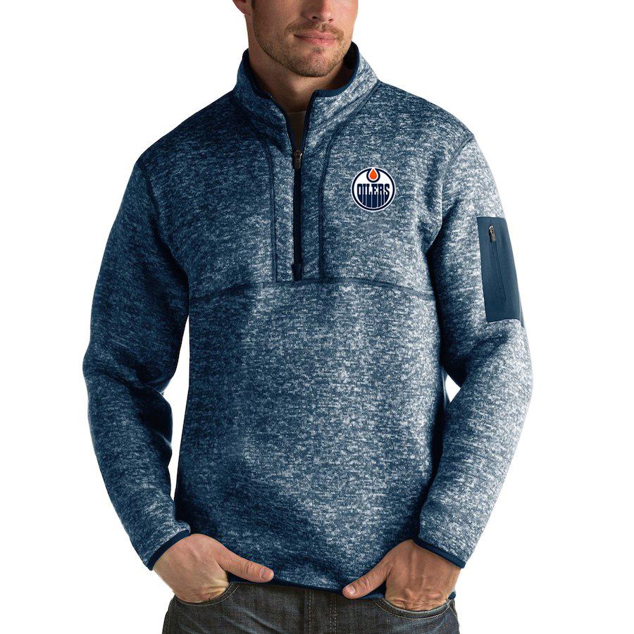 Edmonton Oilers Antigua Fortune Quarter-Zip Pullover Jacket Royal