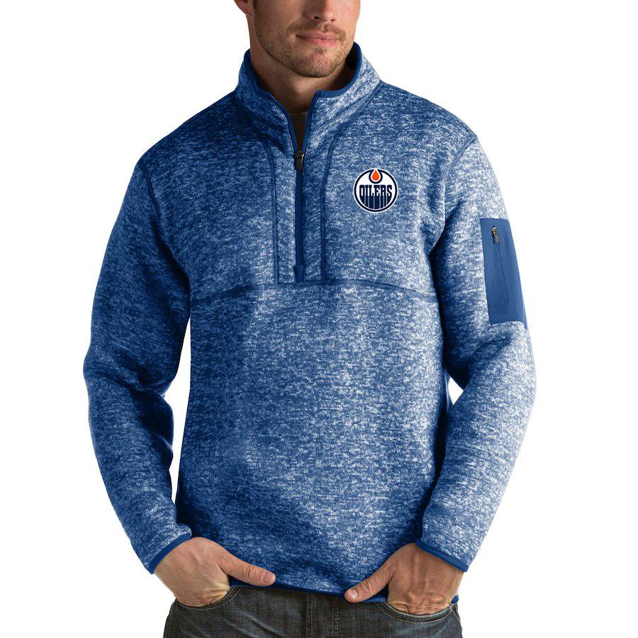 Edmonton Oilers Antigua Fortune Quarter-Zip Pullover Jacket Blue