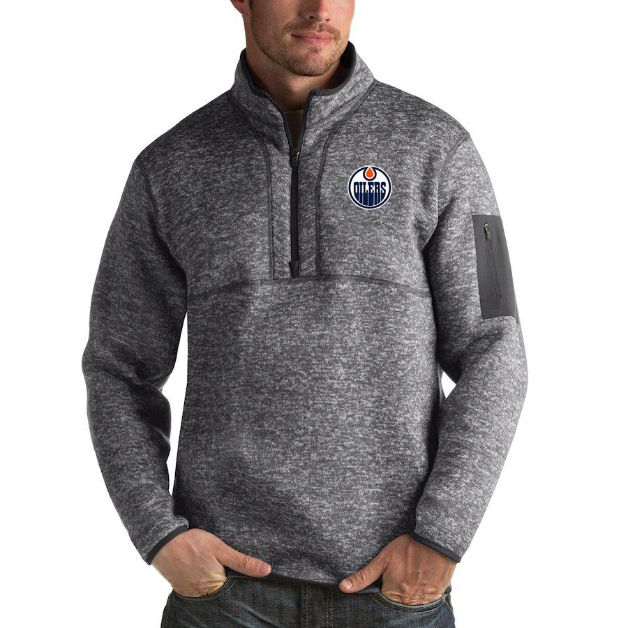 Edmonton Oilers Antigua Fortune Quarter-Zip Pullover Jacket Black