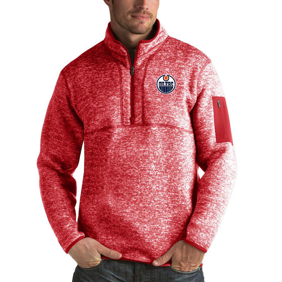 Edmonton Oilers Antigua Fortune Quarter-Zip Pullover Jacket Red