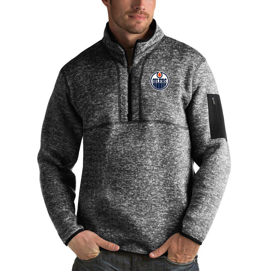 Edmonton Oilers Antigua Fortune Quarter-Zip Pullover Jacket Charcoal