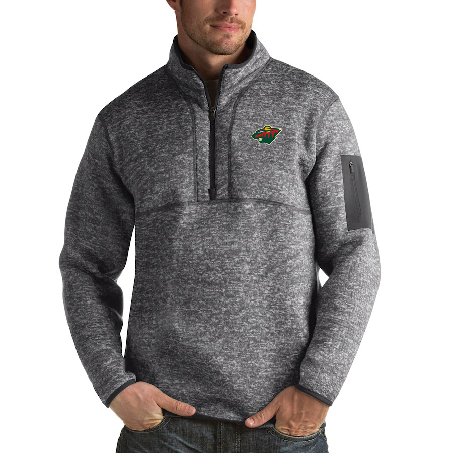 Minnesota Wild Antigua Fortune Quarter-Zip Pullover Jacket Black