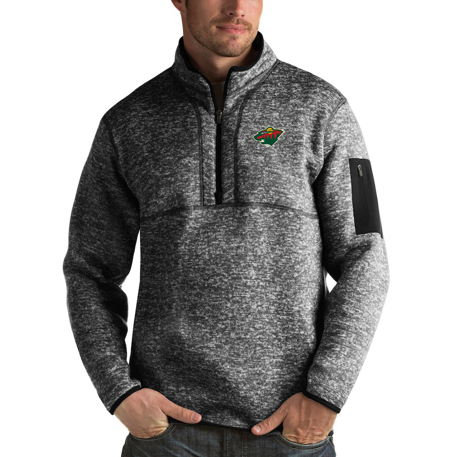 Minnesota Wild Antigua Fortune Quarter-Zip Pullover Jacket Charcoal