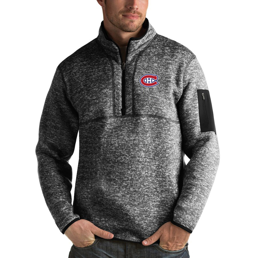 Montreal Canadiens Antigua Fortune Quarter-Zip Pullover Jacket Charcoal