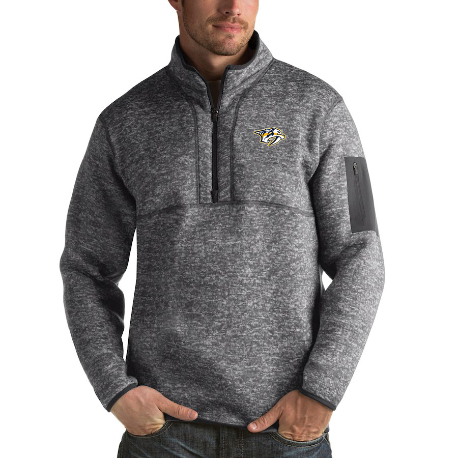 Nashville Predators Antigua Fortune Quarter-Zip Pullover Jacket Black