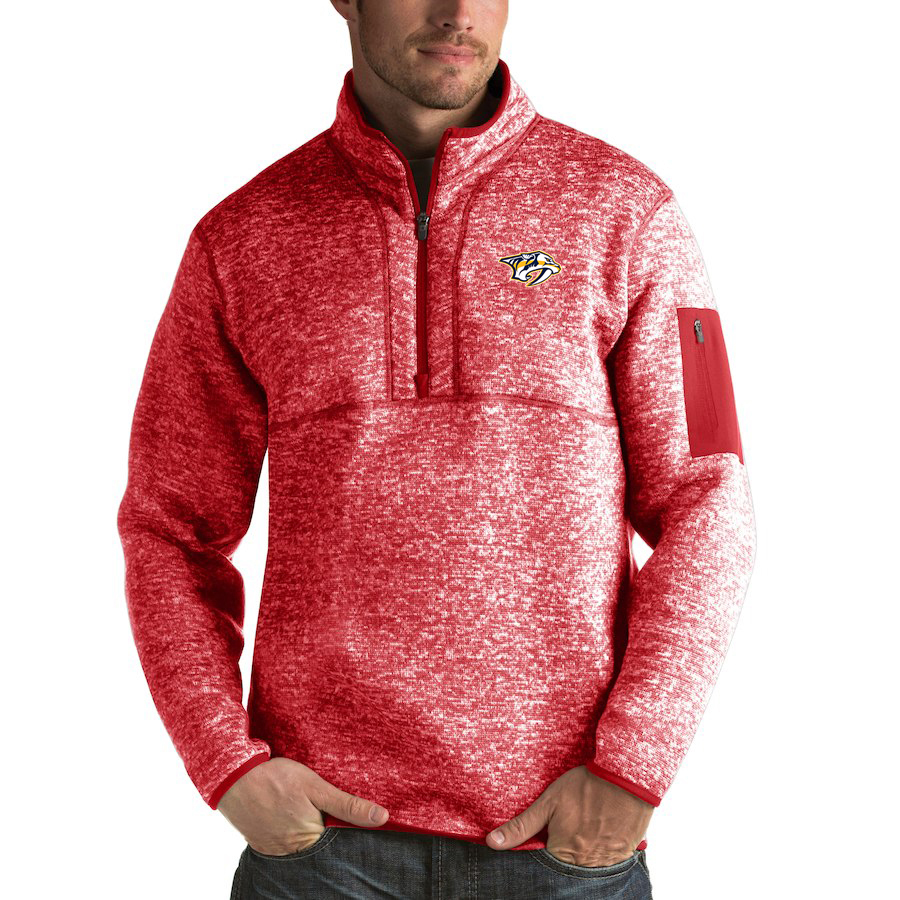 Nashville Predators Antigua Fortune Quarter-Zip Pullover Jacket Red
