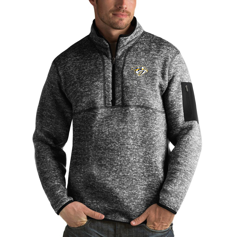 Nashville Predators Antigua Fortune Quarter-Zip Pullover Jacket Charcoal