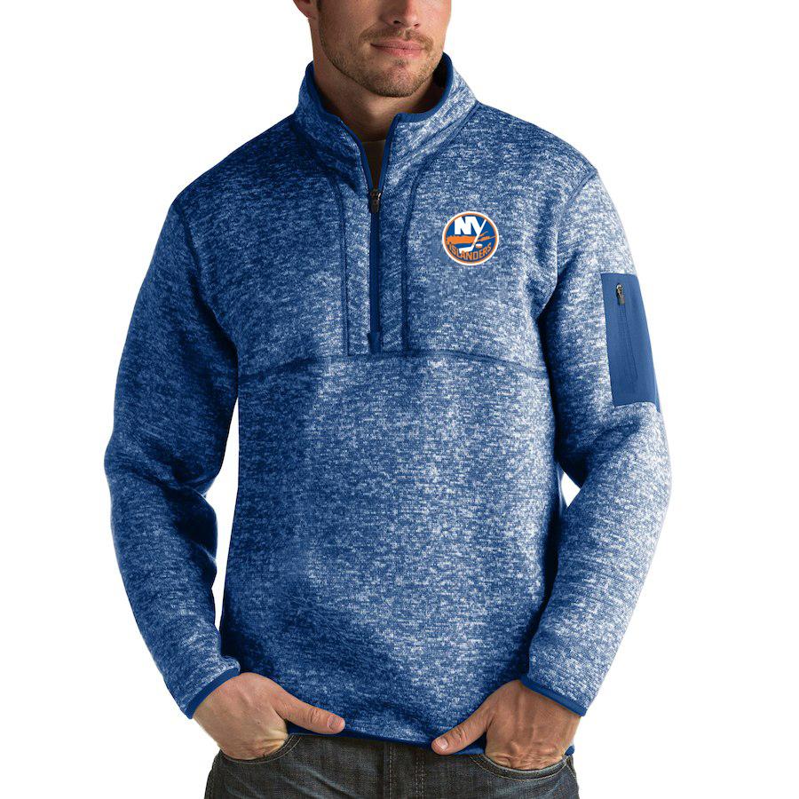 New York Islanders Antigua Fortune Quarter-Zip Pullover Jacket Blue