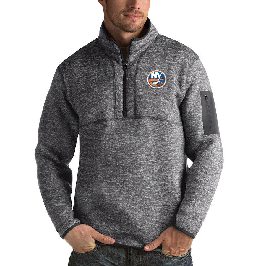 New York Islanders Antigua Fortune Quarter-Zip Pullover Jacket Black