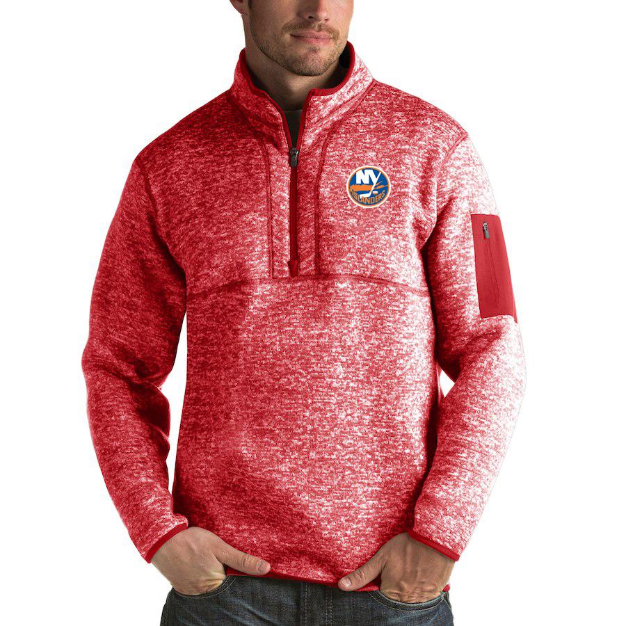 New York Islanders Antigua Fortune Quarter-Zip Pullover Jacket Red