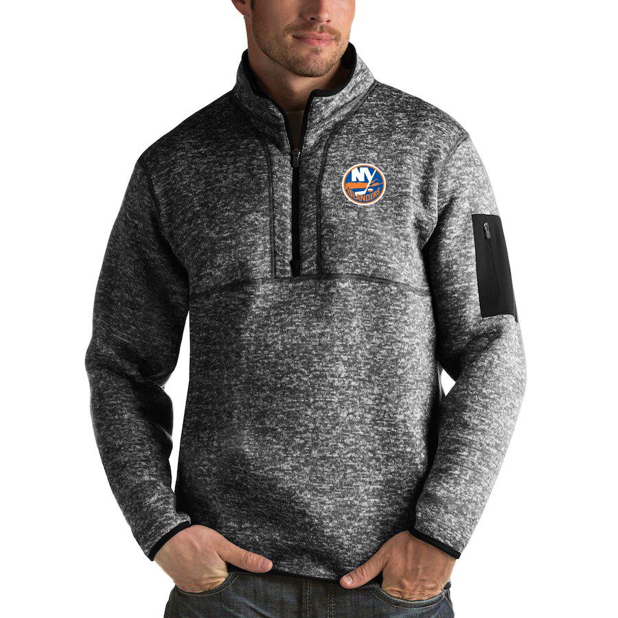 New York Islanders Antigua Fortune Quarter-Zip Pullover Jacket Charcoal