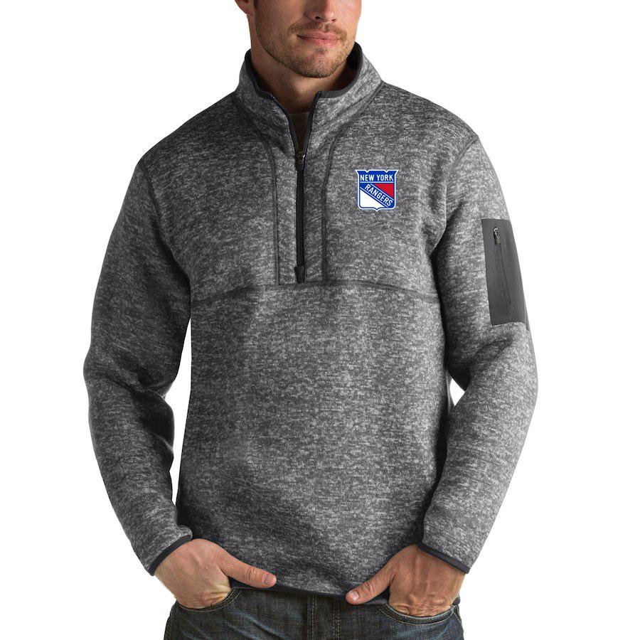 New York Rangers Antigua Fortune Quarter-Zip Pullover Jacket Black