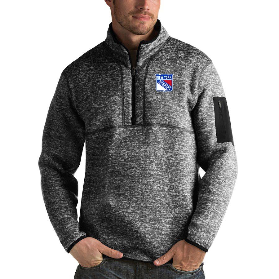 New York Rangers Antigua Fortune Quarter-Zip Pullover Jacket Charcoal