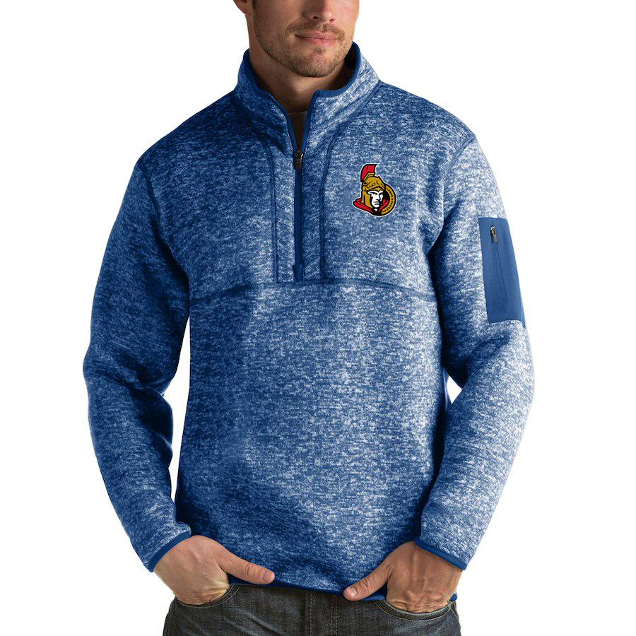 Ottawa Senators Antigua Fortune Quarter-Zip Pullover Jacket Blue