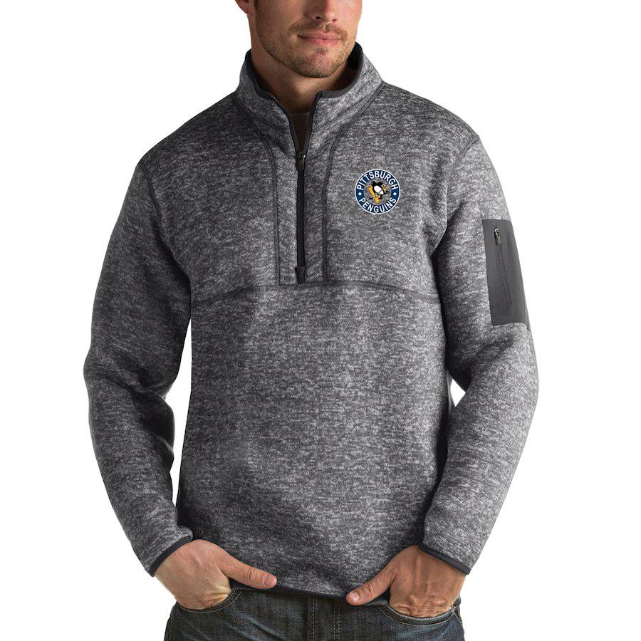 Pittsburgh Penguins Antigua Fortune Quarter-Zip Pullover Jacket Black