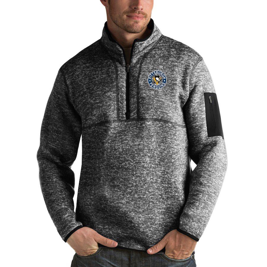Pittsburgh Penguins Antigua Fortune Quarter-Zip Pullover Jacket Charcoal