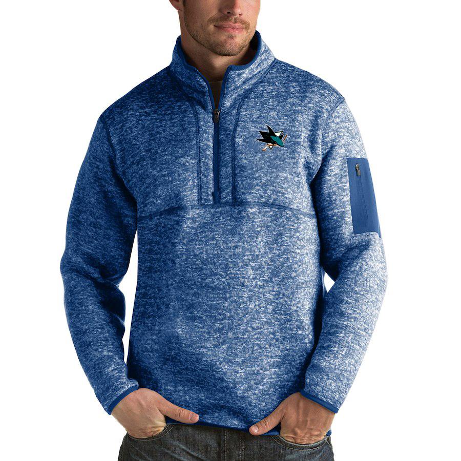 San Jose Sharks Antigua Fortune Quarter-Zip Pullover Jacket Blue