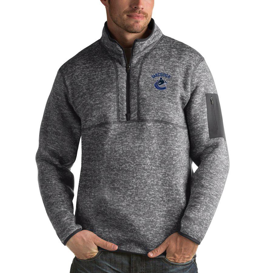 Vancouver Canucks Antigua Fortune Quarter-Zip Pullover Jacket Black