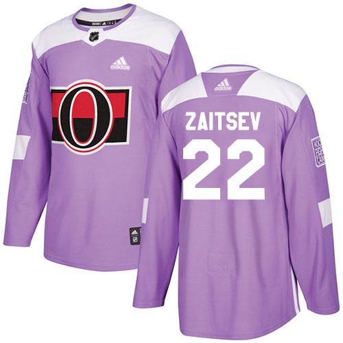Adidas Senators #22 Nikita Zaitsev Purple Authentic Fights Cancer Stitched NHL Jersey
