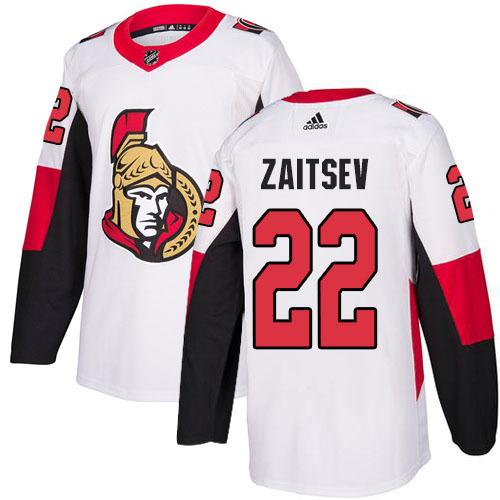 Adidas Senators #22 Nikita Zaitsev White Road Authentic Stitched NHL Jersey