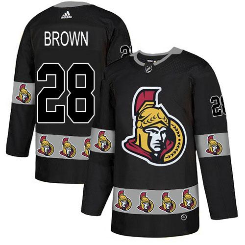 Adidas Senators #28 Connor Brown Black Authentic Team Logo Fashion Stitched NHL Jersey