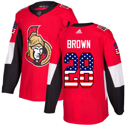 Adidas Senators #28 Connor Brown Red Home Authentic USA Flag Stitched NHL Jersey