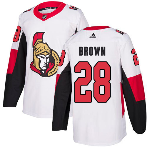 Adidas Senators #28 Connor Brown White Road Authentic Stitched NHL Jersey