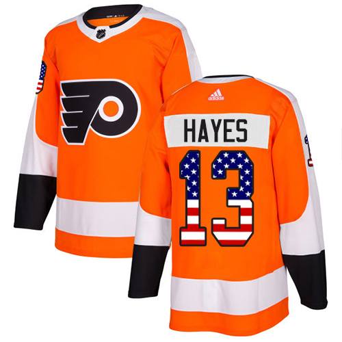 Adidas Flyers #13 Kevin Hayes Orange Home Authentic USA Flag Stitched NHL Jersey