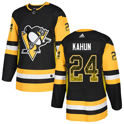 Adidas Penguins #24 Dominik Kahun Black Home Authentic Drift Fashion Stitched NHL Jersey