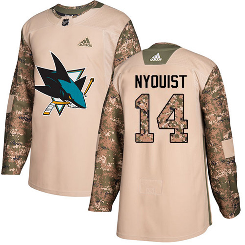 Adidas Sharks #14 Gustav Nyquist Camo Authentic 2017 Veterans Day Stitched NHL Jersey