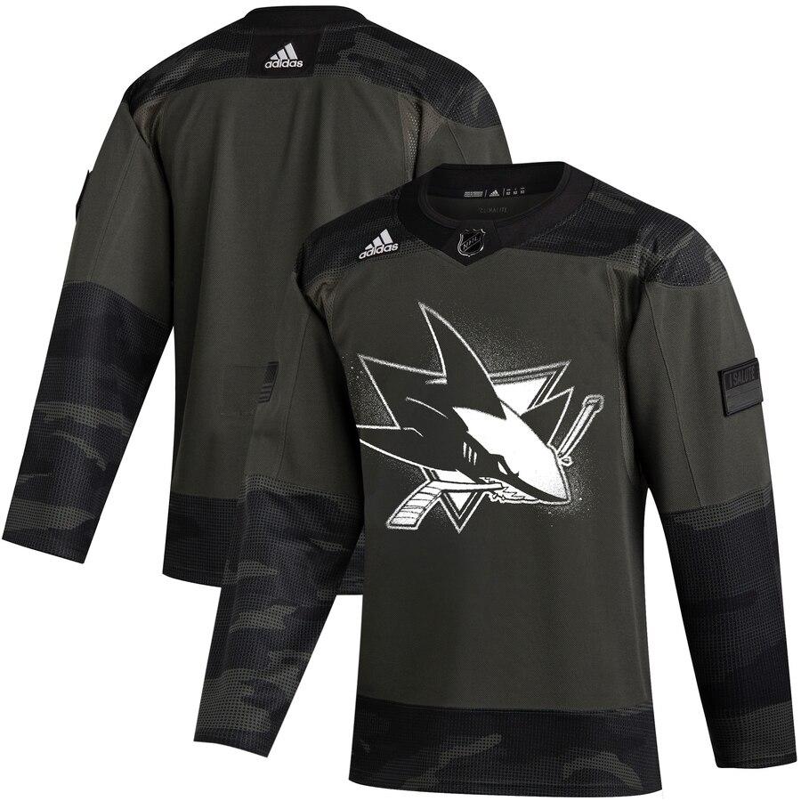 San Jose Sharks Adidas 2019 Veterans Day Authentic Practice NHL Jersey Camo