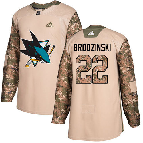 Adidas Sharks #22 Jonny Brodzinski Camo Authentic 2017 Veterans Day Stitched NHL Jersey