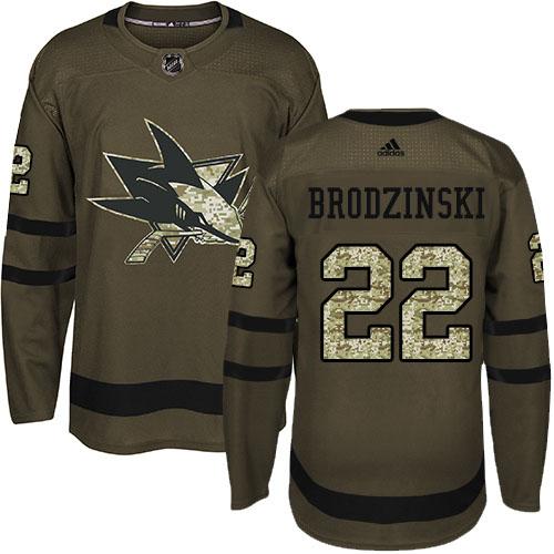 Adidas Sharks #22 Jonny Brodzinski Green Salute to Service Stitched NHL Jersey
