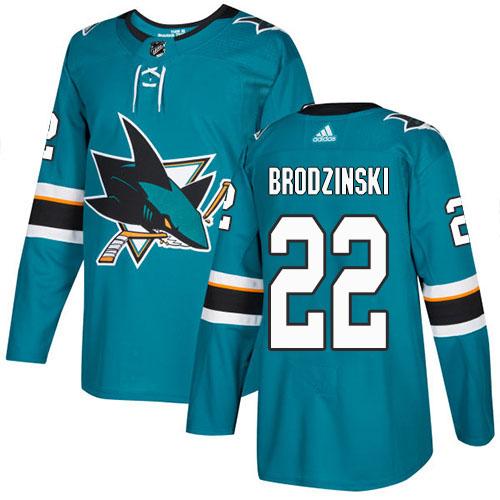 Adidas Sharks #22 Jonny Brodzinski Teal Home Authentic Stitched NHL Jersey