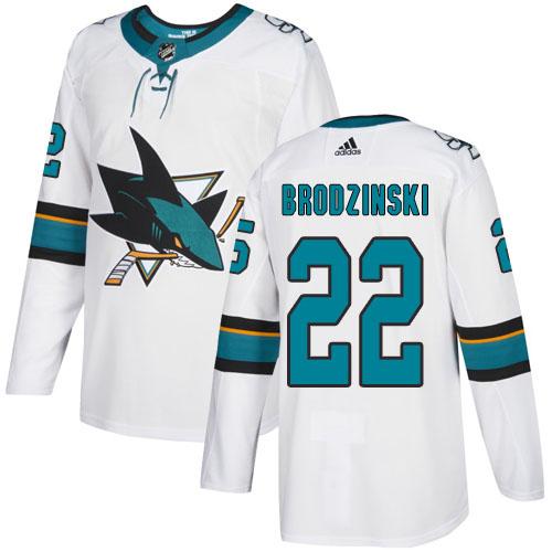 Adidas Sharks #22 Jonny Brodzinski White Road Authentic Stitched NHL Jersey