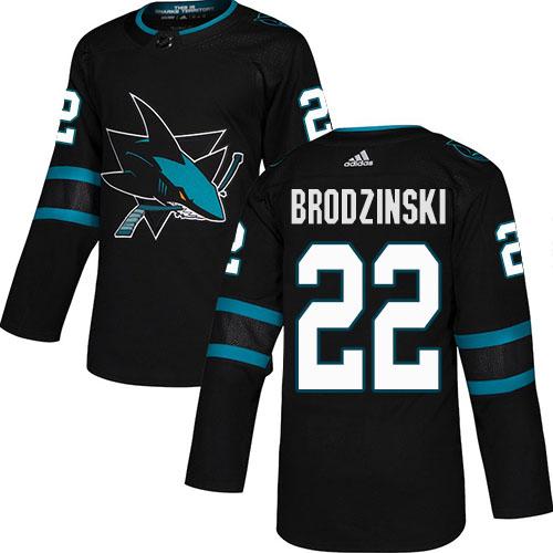 Adidas Sharks #22 Jonny Brodzinski Black Alternate Authentic Stitched NHL Jersey