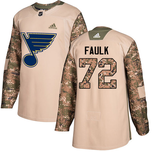 Adidas Blues #72 Justin Faulk Camo Authentic 2017 Veterans Day Stitched NHL Jersey