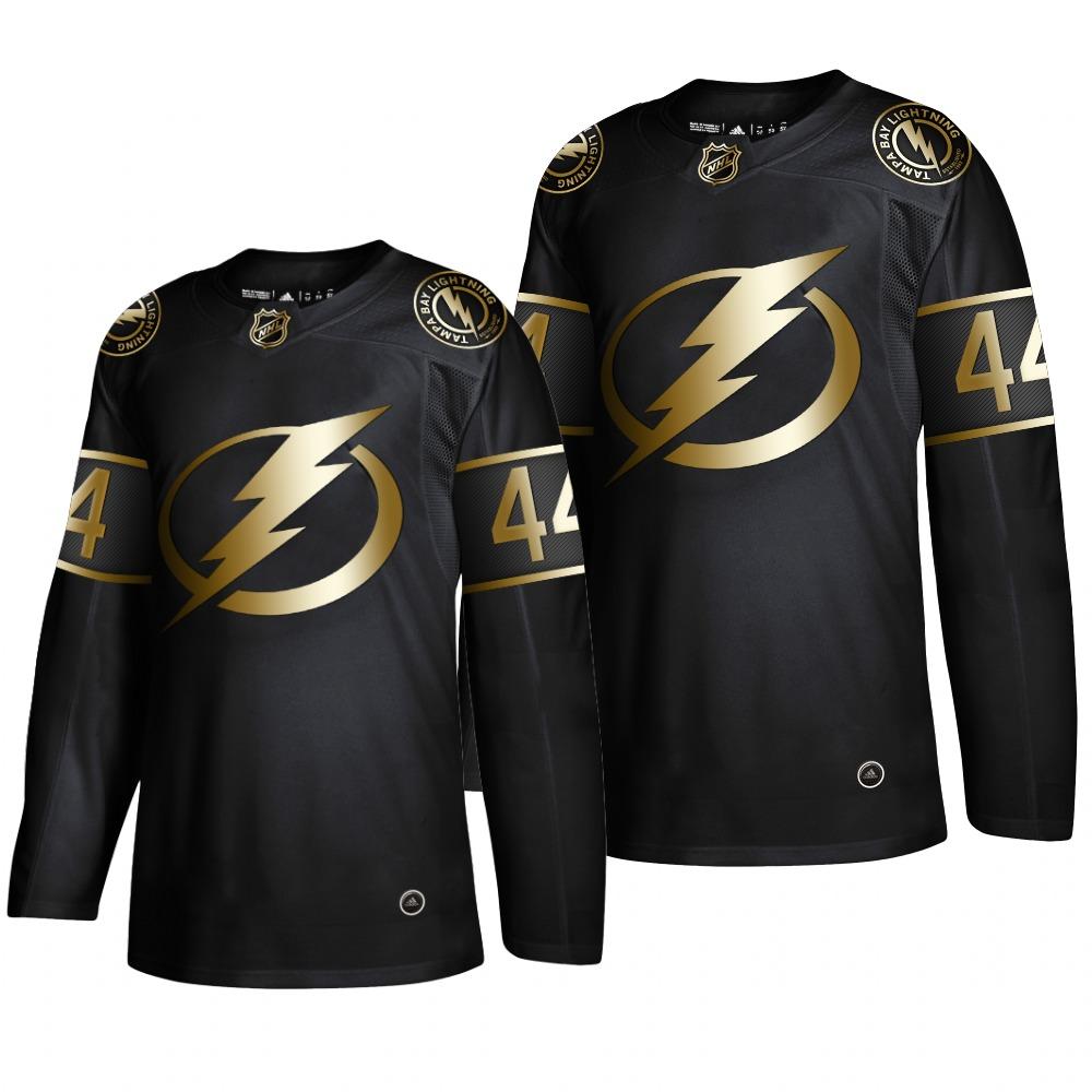 Adidas Lightning #44 Jan Rutta Men's 2019 Black Golden Edition Authentic Stitched NHL Jersey