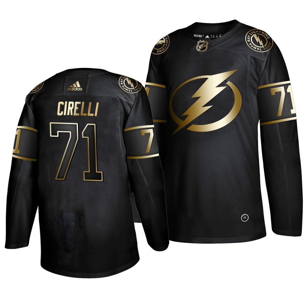 Adidas Lightning #71 Anthony Cirelli Men's 2019 Black Golden Edition Authentic Stitched NHL Jersey
